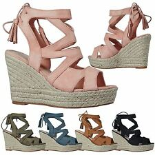 Juno Womens High Wedge Heel Lace Up Tassel Ladies Sandals Hessian Platforms Size