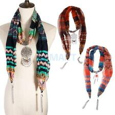 Women Fashion Necklace Scarves Metal Pendant Jewelry Tassels Scarf Shawl Wrap