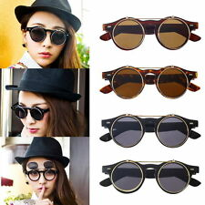 Hot Steampunk Goth Goggles Glasses Retro Flip Up Round Sunglasses Vintage BlaBE