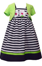 Girls Dress Navy & White Striped Daisy Dress Lime Bolero Bonnie Jean NWT 5-6-6X