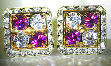 4 CORNER FUCHSIA & CLEAR CRYSTAL CUFFLINKS MADE WITH SWAROVSKI CRYSTALS