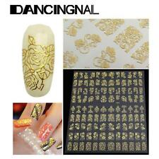 3D Nail Art Stickers Decals Wraps Transfers Metallic Gold Lace Flowers Fashion Q