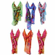 Large Colorful Scarves European American Colorful Butterfly Print Shawl BE