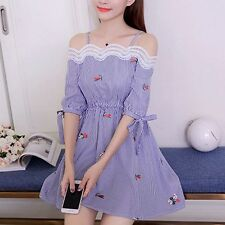 Sweet A-Line Korean Fashion Summer Women Off Shoulder Embroidery Striped Dress