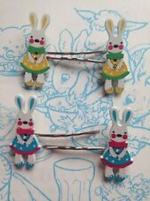 CUTE KITSCH VINTAGE STYLE RETRO BUNNY RABBIT BUTTON HAIR SLIDES HAIR GRIPS