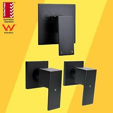 Bathroom Brass Black Square Wall Shower Mixer Hot Cold Twin Tap for Shower Head