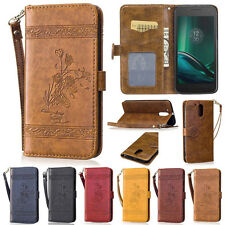 Retro Rose Flowers Wallet Leather Flip Case Cover Stand Card Holder For Motorola