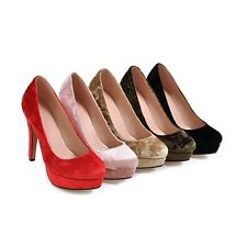 New AU All Size Party Soft Velvet Thick High Heel Lady's Shoes Pumps Comfort