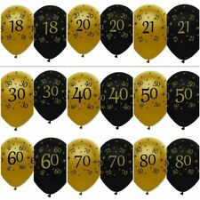 """12 x 12""""  Black & Gold - LATEX BALLOONS (Birthday Party Decorations/Age/Number)"""