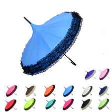 Hot Pagoda Ripple Sun/Rain Umbrella Lace Trim Windproof Long Handle Parasol