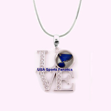 NHL St. Louis Blues 925 Sterling Silver Team Love Necklace With Rhinestones