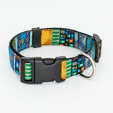 Boho Dog Collar Handmade Pet Collar Various Sizes - bohemian blue gold stripes