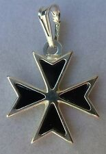 Hallmarked Sterling Silver Maltese Cross Solid pendant with Black ONYX