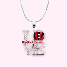 NFL Cincinnati Bengals 925 Sterling Silver Team Logo Love Necklace W/Rhinestones