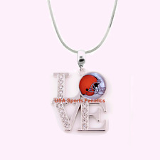 NFL Cleveland Browns 925 Sterling Silver Team Logo Love Necklace W/Rhinestones