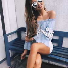 Sexy Womens Summer Long Sleeve T Shirt Off Shoulder Casual Blouse Loose Tops S-L