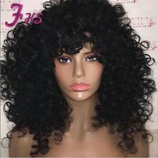 Reall Thick Brazilian Curly Lace Front Wig Glueless Full Lace Wig With Bangs