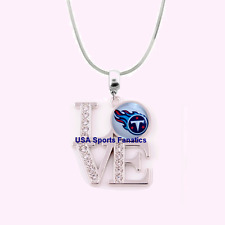 NFL Tennessee Titans 925 Sterling Silver Team Logo Love Necklace W/Rhinestones