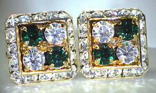4 CORNERS EMERALD & CLEAR CRYSTAL CUFFLINKS MADE W/SWAROVSKI CRYSTALS