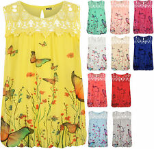 Plus Womens Crochet Butterfly Print Lined Sleeveless Ladies Lace Vest Top 14-22