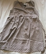 BNWT Jojo Maman Bebe size 12 maternity dress light brown taupe spotted lined