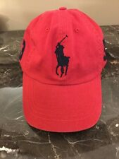 NWT Ralph Lauren Polo Mens Red W/ Blue BIG PONY BASEBALL Cap / Hat $50 Retail