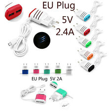 2Kinds Dual-ports EU Plug Wall Charging Car Fast Charger Micro USB Cable Adapter