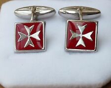925 Sterling Silver Maltese Cross Solid Square Cufflinks with Red Enamel