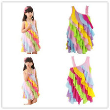 Flower Girl Princess Dress Kid Baby Party Wedding Pageant Tulle Rainbow Dresses