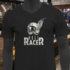 HELL RACER BIKER SKULL WINGED RIDER MOTORCYCLE Mens Black V-Neck T-Shirt