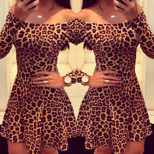 Women Bodycon Slim Dresses Long Sleeve Slash Neck Leopard Cocktail Party Dress