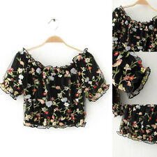 New Womens Sexy Off shoulder Springy Floral Crop Tops Blouses T-Shirts Fashion