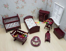 Kids Baby Room Furniture Chest Bed Rocking Cot Horse 1:12 Dolls house Miniatures