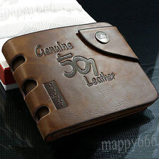 Mens Retro Leather Bifold Wallet Credit ID Card Slim Coin Purse Fashion