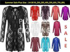 New Plus Size Womens Floral Lace Open Cardigan Long Sleeve Waterfall Top 14-32
