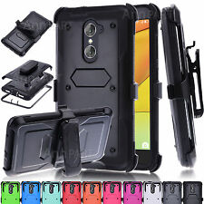 Hybrid Hard Case Cover Phone Protector + Belt Clip Holster For ZTE Zmax Pro Z981