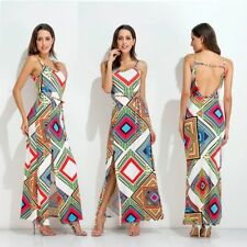 Women Sexy National Style Printing Long Party Dress Beach Casual Backless Dress