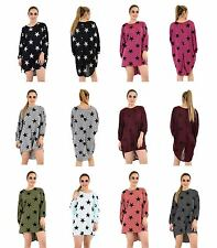 Women Ladies Batwing Stars Print Loose Fit  Fine Knitted Baggy Tunic Top Dress