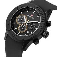 Black Dial Wrist Watch Smooth Silicone Quartz Band Sport Mens Watch Chronograph
