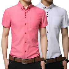 New Clothing Mens Short Sleeve Casual Slim Fit Solid Color Cotton Dress Shirts