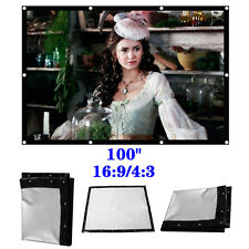 """Portable Bring 100"""" 16:9/4:3 Projection Screen Large HD Movie Cinema C37LJ New"""