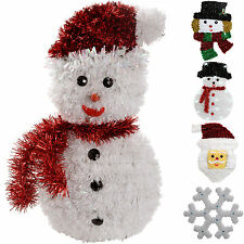 Pre-Lit Tinsel Snowman Santa Snowflake Hanging Wall Christmas Decoration
