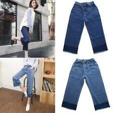 Womens Ladies High Waisted Blue Relaxed Fit Jeans Stretch Denim Capri Pants