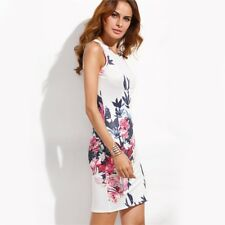 Women White Flower Print Slit Back Sheath Round Neck Sleeveless Mini Dress