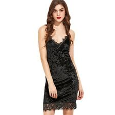 Womens  Dress Black Lace Trim Velvet Cami Bodycon Dress