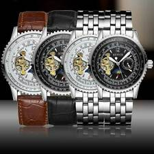 Mechanical Automatic WristWatches Steampunk Steel Band Black Leather Men's Watch