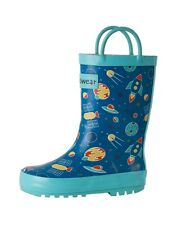 Toddler Rain Boots Kids Boys Girls Childrens Rubber Rainboots Outer Space