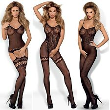 New Ladies Obsessive Bodystocking Body Lace Negligee Obsessive Catsuit black