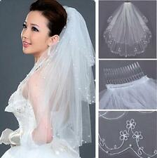 2Tiers Embroidery Pearls Beaded Edge Bridal Wedding Elbow Tulle Veil White/Ivory