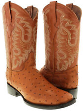 Men's Exotic Ostrich Quill Cognac Leather Cowboy Boots Western Rodeo Square Toe
